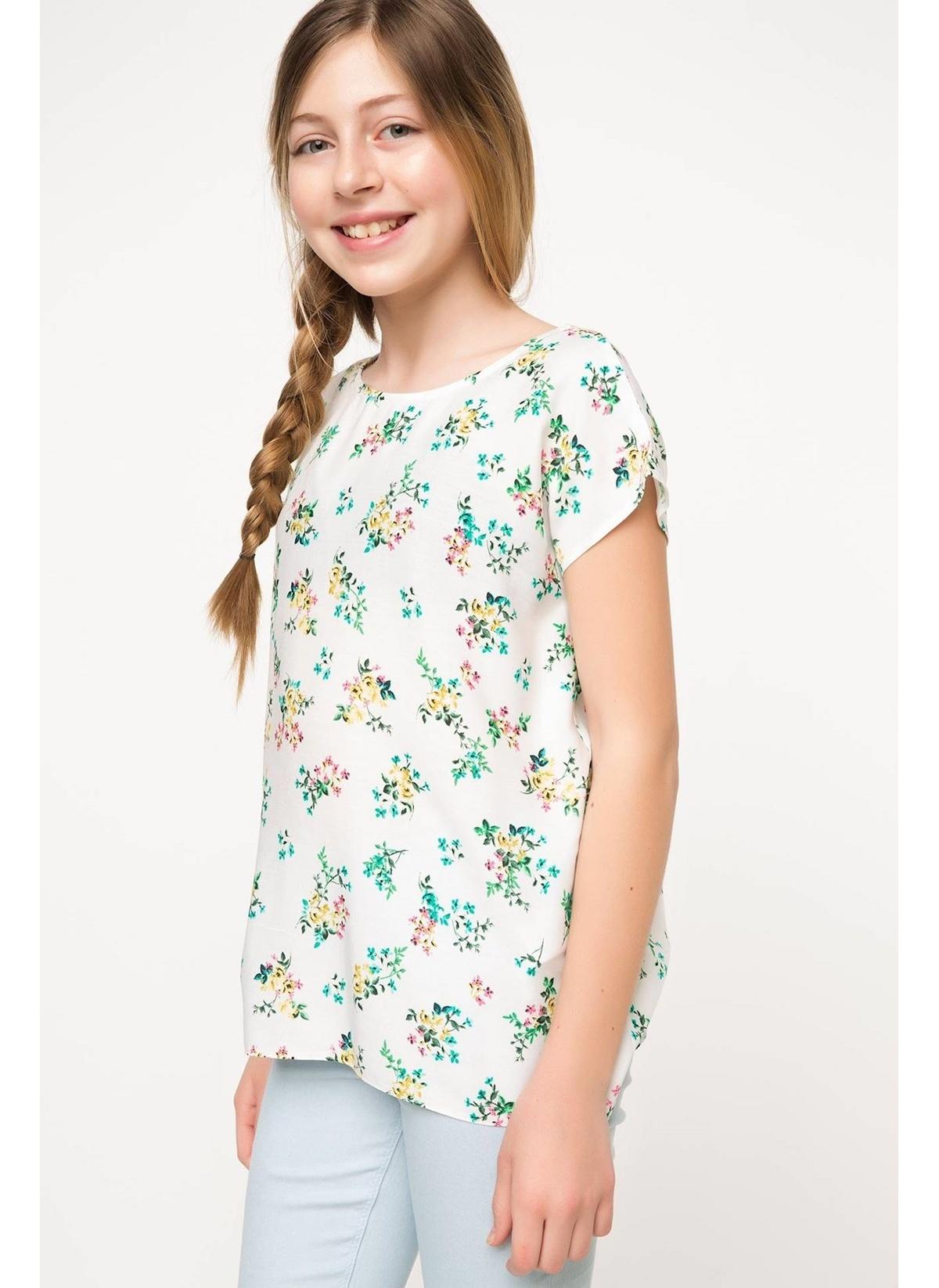 Defacto Bluz H2040a617smer105 Çiçek Desenli Genç Kız – 24.99 TL